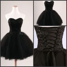 Black Sweet Aline KneeLength Tulle Bridesmaid by hzweddingdress, $89.00