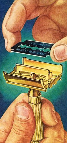 An illustration showing how to change a blade on a doubled edged safety razor/