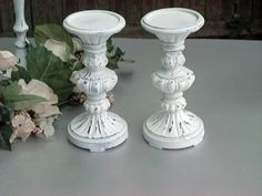 Wedding Ornate Candle Holder Pillar Ornate Distressed Chalk Paint or YOU PICK COLOR $30.00
