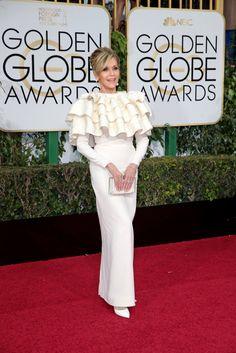 Jane Fonda in Yves Saint Laurent Couture by Hedi Slimane. #goldenglobes2016