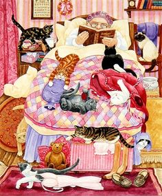 Linda Benton - Abuela y 10 gatos en el dormitorio - Katzen - Cool Cats, I Love Cats, Crazy Cat Lady, Crazy Cats, Image Chat, Gatos Cats, Photo Chat, Here Kitty Kitty, Cat Drawing