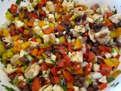 Black Bean Chicken Salad w/ Avocado & Lime-Cilantro Vinaigrette (and 3 types of peppers!)