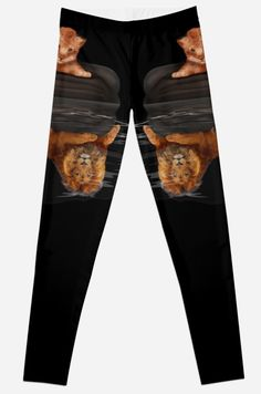 Cute little simba and the big old lion king reflection Leggings #tshirt #clothing #womanfashion #thelion #cat #kitten #animals #kitty #kittens #lion #lionking #younglion #animals #bigkittens