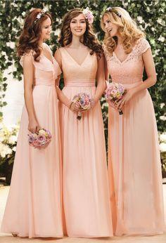 V-neck A-line Sleeveless Natural Floor-length Bridesmaid Dresses