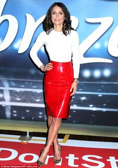 Look red hot in a leather pencil skirt like Bethenny. Click 'Visit' to buy now. #valentino #bethennyfrankel #superbowl  #DailyMail