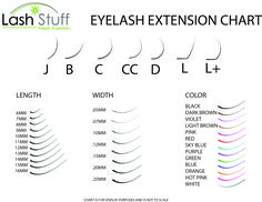 Get free eyelash extension size chart!