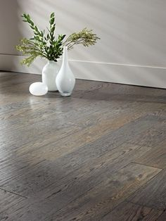 White Oak Hardwood Floors, wide plank w/a smokey grey stain. I want these floors! Hardwood Floor Colors, Grey Hardwood, Oak Hardwood Flooring, Grey Flooring, Flooring Ideas, Grey Oak, White Oak, Stools For Kitchen Island, Kitchen Cabinets