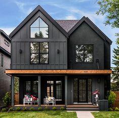 Black House Exterior, House Paint Exterior, Exterior House Colors, Exterior Homes, House Exterior Design, Exterior Siding, Home Siding, Interior Design, Black Windows Exterior