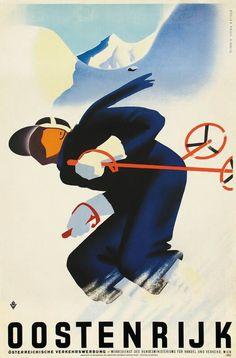 Austria, Ski Vintage Poster 1934
