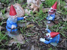 Zombie garden gnomes on Etsy.  I love.