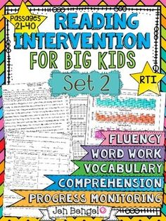 Reading Intervention Program for Big Kids: Set 2! This resource includes daily intervention lessons for a month! It includes 20 fluency passages, targeted comprehension, word work, and vocabulary for each day. It also includes progress monitoring line graphs, bar graphs, and so much more!! ($)
