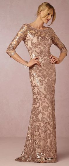 blush and gold sequin brocade mother of the bride dress long sleeves