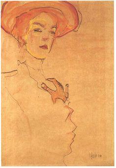 Egon Schiele - Portrait of a woman with orange hat