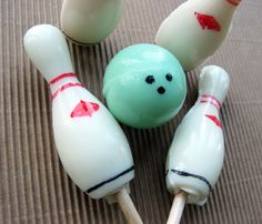 Bowling ball lollipops and candies - VintageConfections.etsy.com