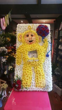 Teletubbies Lala funeral flowers #bellasblooms #funeralflowers #funeraltribute #funeral #flowers #tribute #funeraltributes www.bellasblooms.co.uk