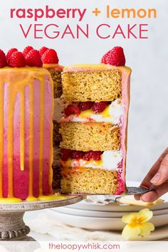 This beautiful and delicious vegan raspberry & lemon cake features fluffy vegan sponges, luscious vegan frosting and a vegan lemon curd drip. Vegan Sweets, Vegan Desserts, Vegan Cake, Delicious Desserts, Vegan Recipes, Vegan Foods, Baking Recipes, Free Recipes, Vegan Buttercream