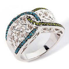 Victoria Wieck .29ct Blue and Green Diamond Band Ring