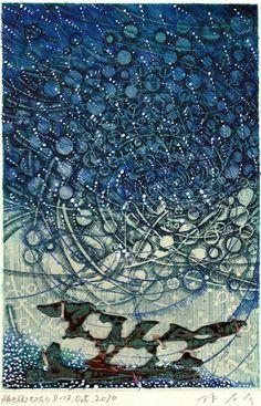 D-17.Oct.2010 解き放つものたちpen drawing, collage on my original etching print林孝彦 HAYASHI Takahiko 2010