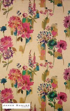 James Dunlop Indent - Painted Garden - Petunia | Ideal Drape Makers
