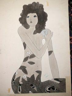 Vtg 1972 Hippy Girl Black & White Perfume Ad Original Painting Advertising Art