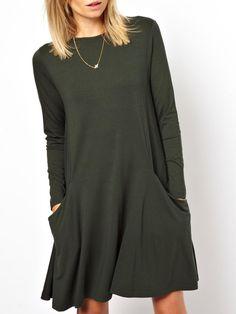 Green Long Sleeve Pockets Casual Dress 15.39