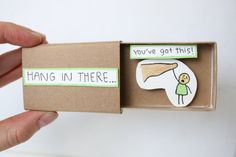 Encouragement Card/Hang In There Card/Matchbox by Thumbalenias