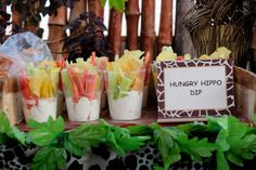 Dip with veggies and chips at a Jungle Party #jungleparty #chipdip