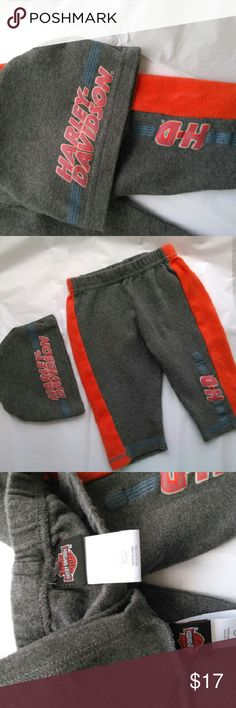 Harley- Davidson Sweat Pants & Hat 3/6 Months Authentic (see Labels) Gently worn  100% Cotton Harley-Davidson Matching Sets