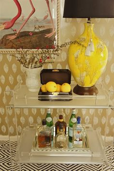 bar cart, love the quirkiness and having pink flamingo's behind is a great thought! KMW