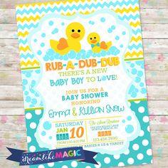 Rub-A-Dub-Dub Baby Shower Baby Boy Invite Rubber by DreamlikeMagic