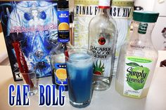 Gae Bolg (Final Fantasy XIV cocktail) Ingredients: .75 oz Blue Curacao 1.5 oz Bacardi Dragon Berry 5 oz Limeaid 1 Twizzler Dragoons have always been one of my favorite classes in Final Fantasy games, and XIV is no exception. To coincide with Geek &...