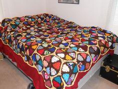 △  △ Crochê Avó Afegão Enfeitiçado de Triângulo -  /  △  △ Hexed Granny Triangle Crocheted Afghan -