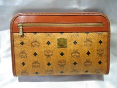 Authentic Vintage Handmade MCM MUNCHEN Clutch Bag Brown PVC Leather Logo Pattern Hand Bag Germany by CLASSYBAG on Etsy