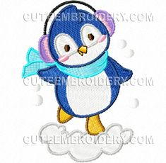 "This free embroidery design from Cute Embroidery is a ""Snow Penguin""."