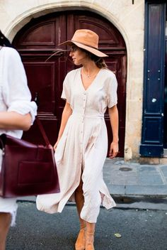 Brown fedora, white midi dress, brown suede flats - Neutrals, neutral colors, neutral tone outfit, neutral outfit, neutral color outfit, spring outfit, summer outfit, casual outfit, fashion trends 2018, fashion 2018, spring style, stylish, street style.