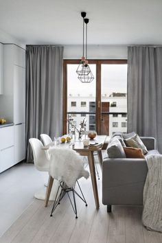 Luxury Scandinavian Interior Design Ideas For Small Apartment - Page 3 of 41 Living Pequeños, Small Living Rooms, Living Room Decor, Small Dining, Small Apartment Interior, Apartment Ideas, Interior Minimalista, Scandinavian Living, Scandinavian Interior