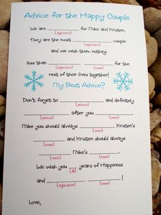 DIY Printable Wedding Mad Libs (or printing service optional) - Winter Snowflake Design. $15.00, via Etsy.
