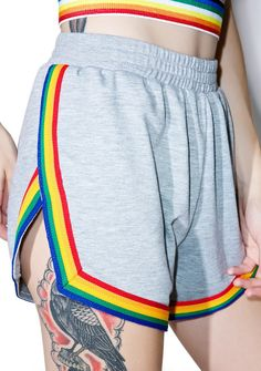 Camp Collection Rainbow Shorts are gunna make 'em jealous of yer sunny disposition, bb~ These totally eXXXclusive cheeky short shorts feature an ultra soft heather grey construction, high cut sides, thick elasticized waistband, and amazin' rainbow striped trim!