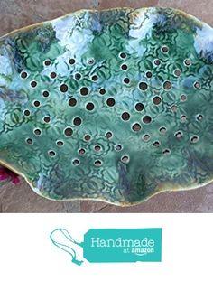Green Colander handmade ceramic colander large kitchen sieve berry bowl pottery colanders strainer for the cook kitchen decor from Manuela Marino Ceramic https://www.amazon.com/dp/B01IRUGESQ/ref=hnd_sw_r_pi_dp_tRIKxb0KGDZNB #handmadeatamazon
