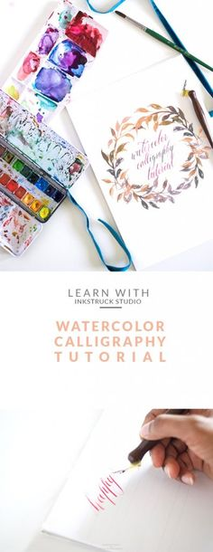 Watercolor calligraphy tutorial - Inkstruck Studio for Dawn Nicole Designs