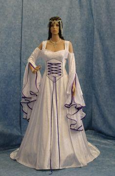 Renaissance medieval handfasting  wedding dress custom made. $350.00, via Etsy.