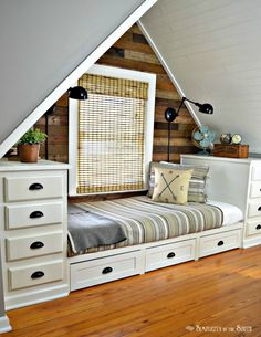 Built-in Bed Using Kitchen Cabinets. Make this cozy built-in bed with stock kitchen cabinets. Add trundle drawers for more storage. Decor, Interior Design, Built In Bed, Headboard Styles, Room, Stock Kitchen Cabinets, Bed, Home Decor, Furniture