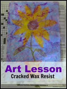 Simple Art Lesson: Cracked Wax Resist with step-by-step instructions.