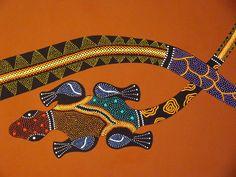 Margouillat aborigène acrylique - Gros plan