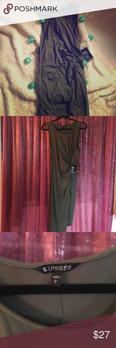 Express Dress Beautiful olive green dress from express. Synched at waist for a flattering tummy area & gives anyone a tiny waist. Slightly a-symmetrical with slit on left leg. Never worn,tags attached. So flattering.  Offers accepted! 👍🏻 Express Dresses