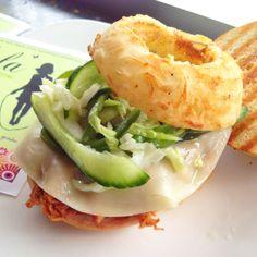 BBQ Pulled Pork Sandwich w/ Honey-Cucumber Slaw, Provolone & Buttermilk Onion Ring