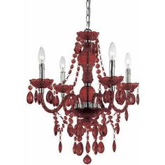 Handcrafted mini chandelier in red.Product: Mini chandelier Construction Material: Plastic and metal Color: Red Features: Handcrafted Accommodates: 60 Watt candle base bulbs - not includedDimensions: 23 H x 21 Diameter Chandelier Bougie, Red Chandelier, Chandelier Lighting, Plastic Chandelier, Circular Chandelier, Crystal Chandeliers, Vintage Chandelier, Transitional Chandeliers, Transitional Lighting