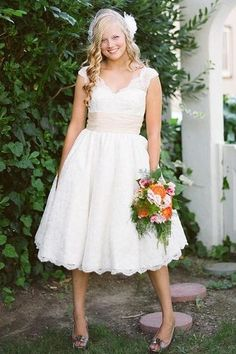 LOVE tea length lace wedding dresses <3