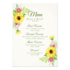Watercolor Sunflower Wedding Dinner Menu Card - wedding invitations diy cyo special idea personalize card #weddingmenu