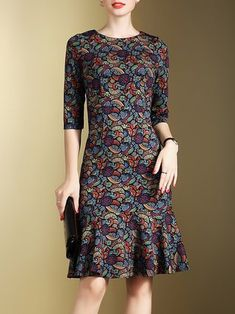Multicolor Floral Vintage Printed Crew Neck Midi Dress